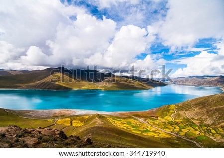Holy Lake in Tibet (Yamdrok Lake) - stock photo