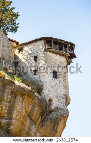 Holy Monastery of Great Meteoron  in Meteora mountains, Thessaly, Greece.  UNESCO World Heritage List