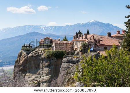 Holy Monastery of Saint Stephen in Meteora mountains, Thessaly, Greece.  UNESCO World Heritage List