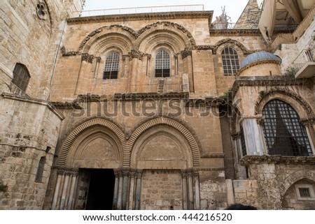 Holy sepulchre church facade, Jerusalem, Israel - stock photo