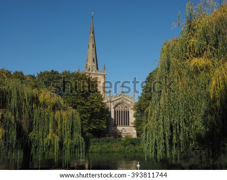 Holy Trinity church seen from River Avon in Stratford upon Avon, UK