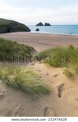 Holywell bay in the sand dunes - stock photo