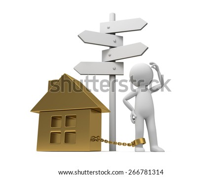 home/A 3d people with a gold house. 3d image. Isolated white background - stock photo