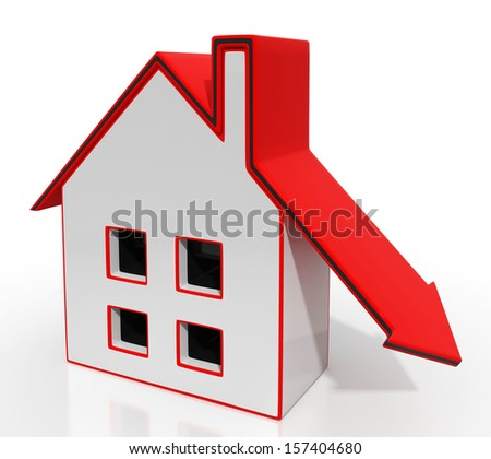 Home And Down Arrow Shows Property Recession - stock photo