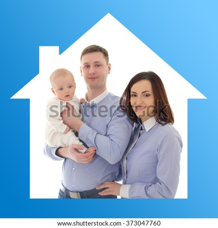 home and family concept - happy father, mother and son in blue house - stock photo