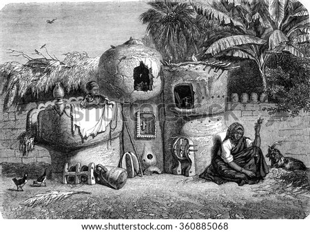 Home and furniture fellahs, vintage engraved illustration. Magasin Pittoresque 1847.