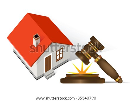 Home and gavel real estate;  Raster version of vector illustration.