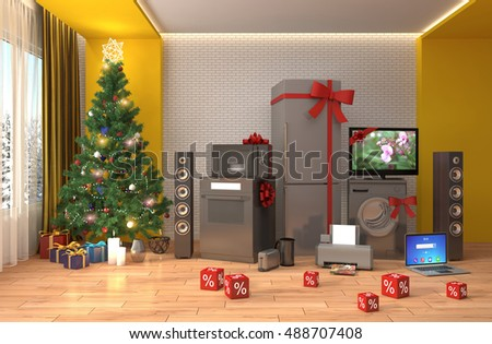 Home appliance with ribbons and discounts in interior. 3D Illustration