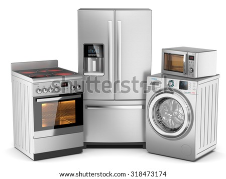 Home appliances. Group of silver refrigerator, washing machine, electric stove, microwave oven isolated on white background 3d - stock photo