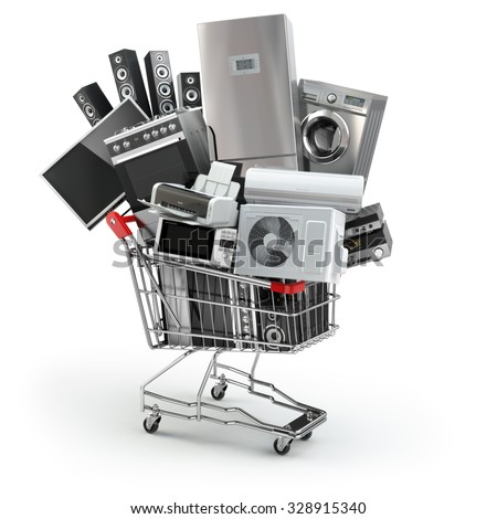 Home appliances in the shopping cart. E-commerce or online shopping concept. 3d