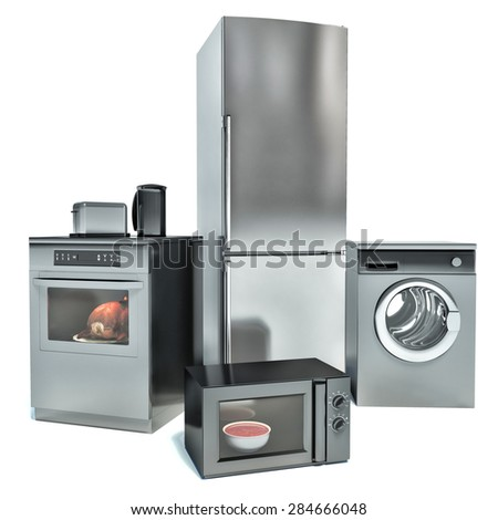 Home appliances isolated on white. Fridge, gas cooker, microwave oven and washing machine - stock photo
