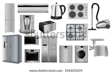 Home appliances.  Microwave and Oven, grinder, Dishwasher, Vacuum cleaner, refrigerator, coffee machine, split-system, washing machine, kettle. Raster version. Illustration isolated on white. - stock photo