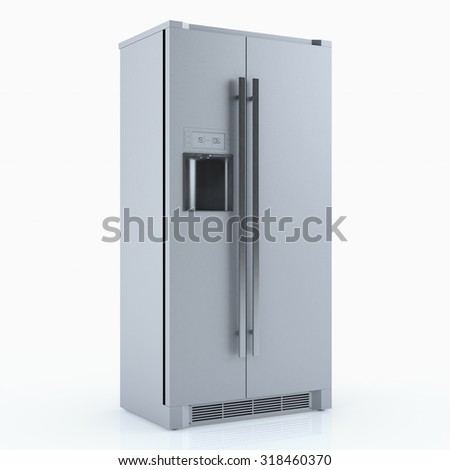 Home appliances. Modern Refrigerator isolated on white. 3D render - stock photo