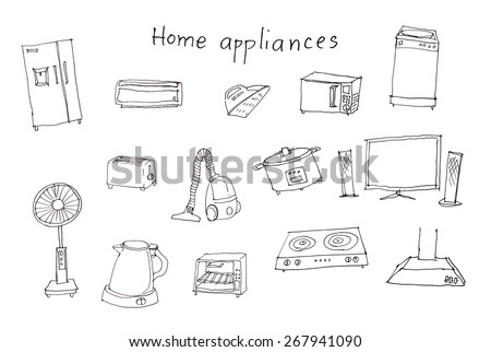home appliances pencil hand drawing  - stock photo