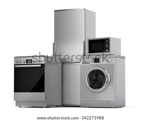 Home appliances. Refrigerator, washing machine, electric stove and microwave isolated on white - stock photo