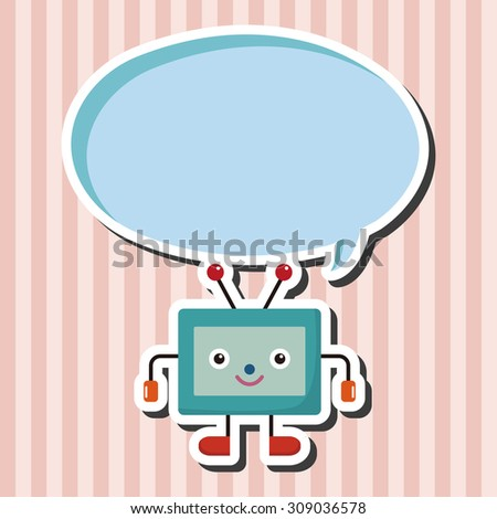 Home appliances theme tv, cartoon speech icon