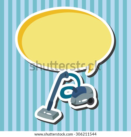 Home appliances theme vacuum cleaner, cartoon speech icon