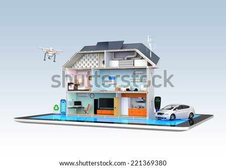 Home automation concept. Home appliances energy monitoring by tablet. - stock photo