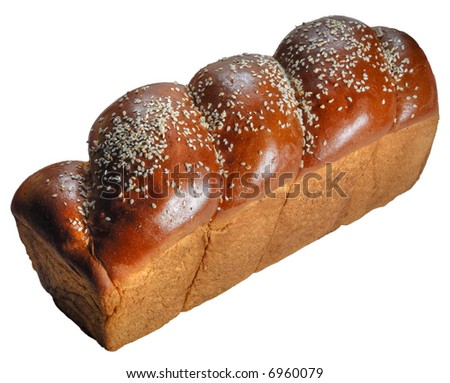 Home-backed panetone in traditional form on pure white background - stock photo
