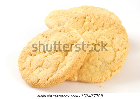 Home baked sugar cookies on a white background - stock photo