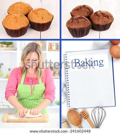Home baking collage, Baking concept - stock photo