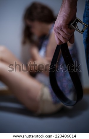Home brawl between marriage finished wife beating - stock photo