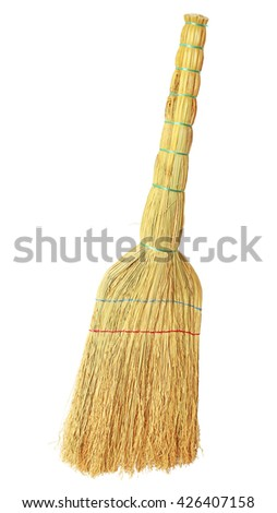 Home broom for cleaning debris isolated on a white background. - stock photo
