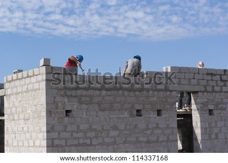 Home builders are building cinder block - stock photo