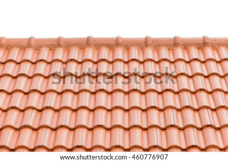 home building construction roof tiles  concrete. orange color.isolated white background