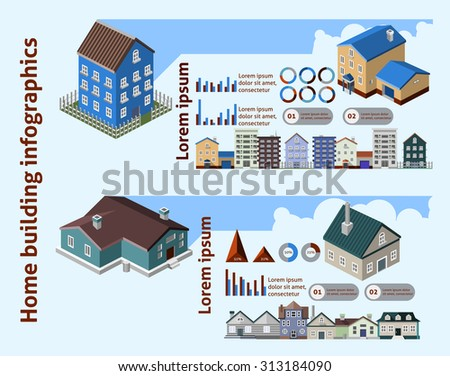 Home building infographics with isometric houses and charts  illustration - stock photo