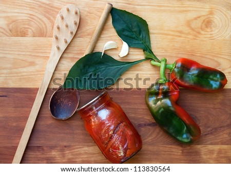 Home Canning Peppers Still Life - stock photo