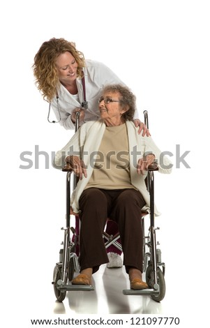 Home Care Nurse Push Senior on Wheelchair on Isolated White Background - stock photo