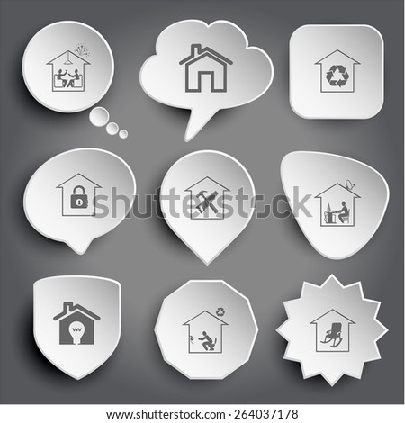 home celebration, protection of nature, bank, workshop, work, light in home, toilet, comfort. White raster buttons on gray. - stock photo