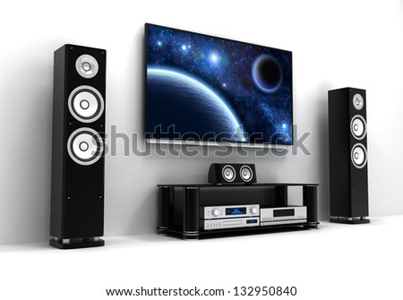 Home-cinema modern (done in 3d) - stock photo