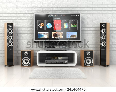 Home cinema system. TV,  loudspeakers, player and receiver  in the room. 3d - stock photo
