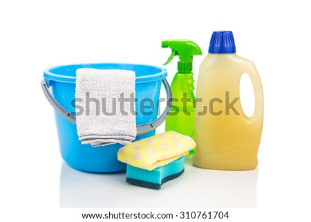 Home cleaning tool set of detergent, sponge, spray, towel and pail - stock photo