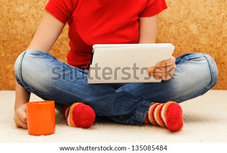 home comfort with digital tablet - stock photo