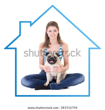 home concept - young beautiful woman sitting with pug dog isolated on white background - stock photo