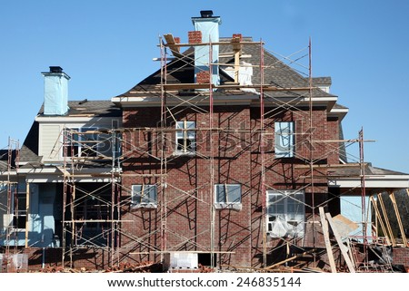 Home construction-brick work - stock photo