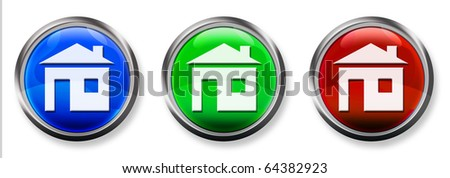 Home 3-D RGB Buttons - stock photo