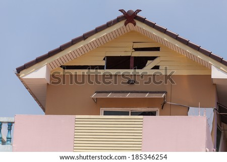 Home damaged by bombs - stock photo