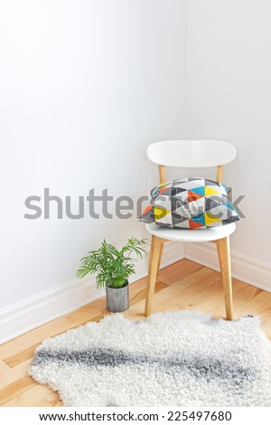 Home decor. Chair with bright cushion, plant and sheepskin rug on the floor. - stock photo