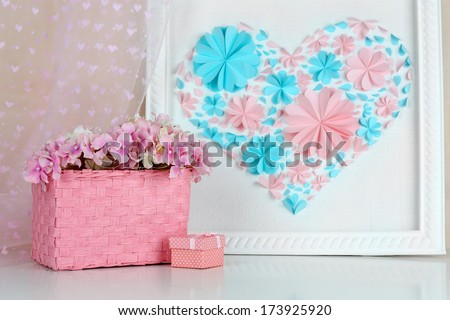 Home decor with handmade picture - stock photo