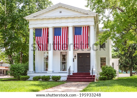 Home decorated for the 4th of July - stock photo