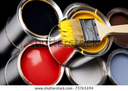 Home decoration, Paint and cans - stock photo