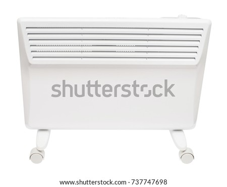 Home electric heater convector isolated on white background. Equipment for rapid heating of the room
