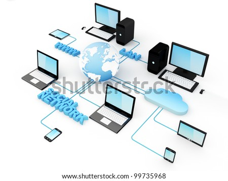 Home Electronic Devices connected to global network. Note: All Devices design and all screen interface graphics in this series are designed by the contributor him self. - stock photo
