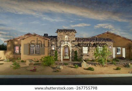 Home Exterior House Design Architecture drought landscaping California - stock photo