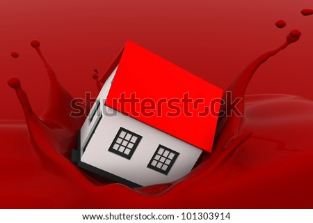 Home falling down in paint basket - stock photo