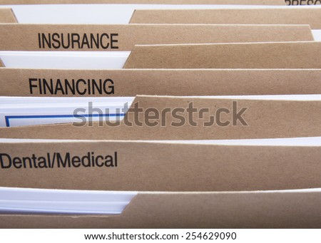 home filing dividers for house finance - stock photo